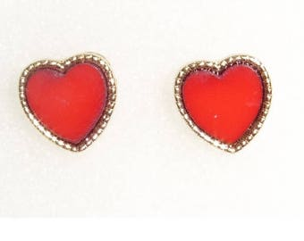 Designer Inspired Red  Heart Stud Earrings