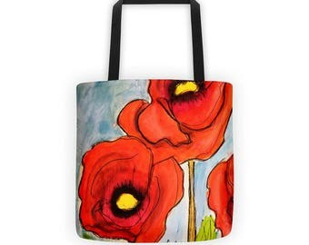 Poppy Tote Bag, Flower Tote Bag, Flower Tote