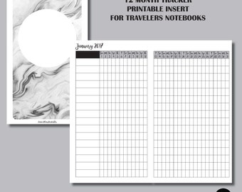 12 MONTH TRACKER Insert for Pocket Sized Travelers Notebooks
