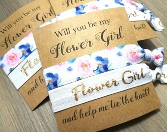Will You Be My Flower Girl and Help Me Tie The Knot Hair Tie Favor | Flower Girl Proposal | Will You Help Me Tie The Knot