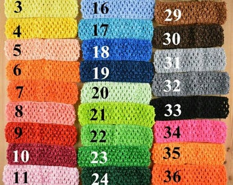 38 Pieces lot 1.5 Inch Stretchy Crochet Headbands DIY Girls Hair Accessories 38 Color.