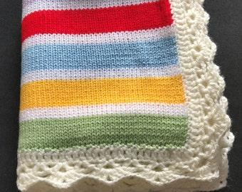 Handmade Knitted/ Crochet Stripy Baby Blanket/ Colorful Blanket