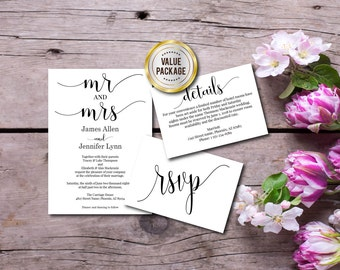 Wedding Invitation, Mr and Mrs Invite, Value Invite Set, Thank You, RSVP, Template Instant Download, Printable, Editable PDF, Digital E123B