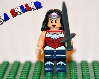 Wonder Woman Custom minifigure (Lego Compatible) DC Comic Justice League of America JLA Superhero Diana Rise of Justice Christmas Stocking 2