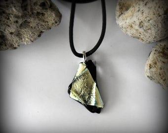 Dichroic Glass pendant/glass gem/t-fuse/black-silver