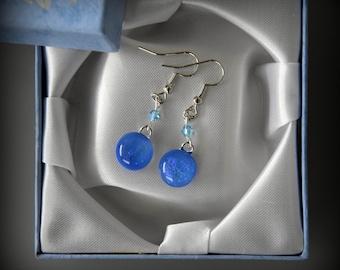 Dichroic earrings with swarovski toupies (4 mm)/glass jewelry/sky blue