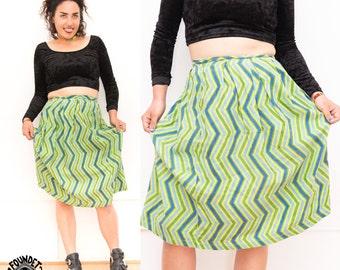 Vintage Hand-made Cotton Green / Blue Zig Zag Skirt