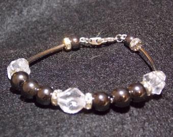Black hematite and rhinestone bracelet