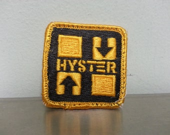 Vintage 80's Hyster Blue Yellow Square Patch Craft Hat