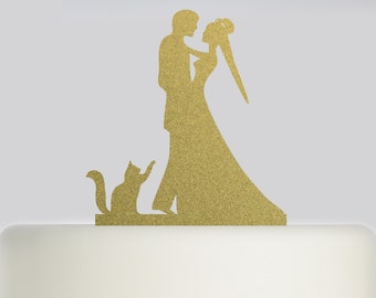 Wedding Cake Topper Bride Groom and Cat Wedding Topper - Acrylic Cake Topper - Mr and Mrs Cake Topper - Bride and Groom .177