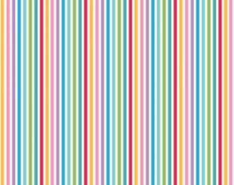 Multi Stripe Fabric, Mini Fun Fair, Melly & Me, Ella Blue, Circus, carousels, yellow, pink, purple, blue, green, softie, quilt, mini prints