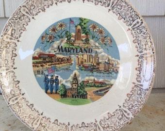 Vintage Maryland Souvenir Plate