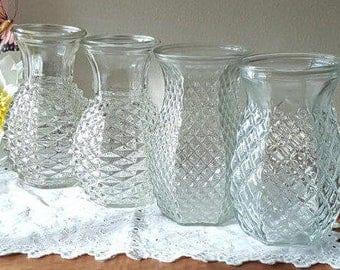 Wedding Vases~Vintage Mid Century Glass Pineapple Vases~Vases for Weddings~Glass Vases for Any Color Wedding Venue