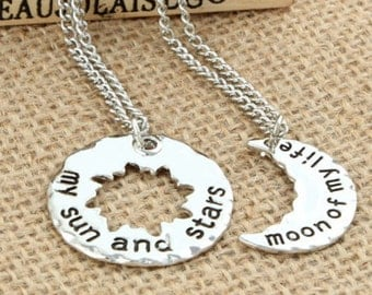 2pc Moon of My Life Necklace Set | CHOICE OF CHAIN Game of Thrones My Sun and Stars Star Best Friends Boyfriend Girlfriend Jewelry Jewellery