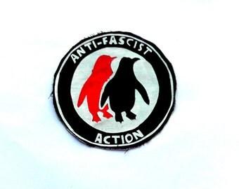 Jacket Patch, Punk Accessories, Vest Patch, Antifascist Action, Antifascist Patch, Skinhead Patch, Black Patch, Silk Screen, DIY Patch