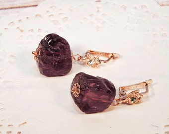 "Gold earrings, burgundy earrings, red earrings, wine earrings, burgundy jewelry, marsala jewelry ""Maeve"""