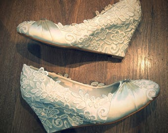 Bridal Ivory Satin wedges with lace (available in other colours/heel heights-please message)