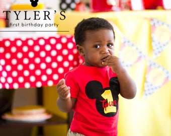 Personalized First Birthday Shirts for boys. Personalized Mickey Mouse First Birthday Shirt.