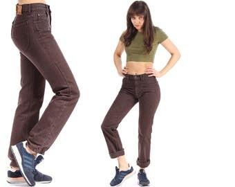 LEE Jeans 80s High Rise Denim Pants Brown Boyfriend High Waist Pants Button Fly Trousers Classic Vintage Small