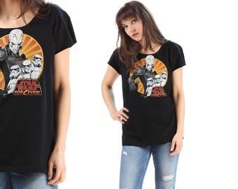 Star Wars T Shirt 80s Vintage Tee Dark Vador Print Long TShirt Movie Black Grey Yellow Summer Festival Urban Hipster Raw Edges Medium