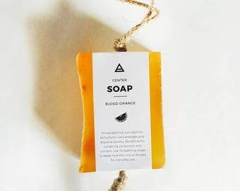 Soap - Center / Blood Orange • Bar Soap, herbal soap, natural soap, all natural, orange soap, blood orange soap, soap with loop handle