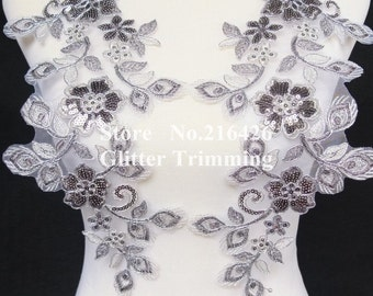 1pair=2pcs Sew-on Silver/Grey/Cream Flower Embroidery Mirror Pair Sequins Lace Appliques Trims Patches BNC112E