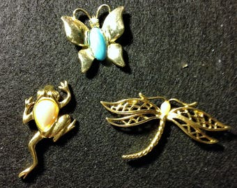 Three Spring Pieces - a frog, a butterfly and a dragonfly