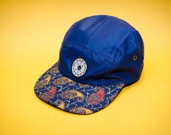 Blue five panel hat