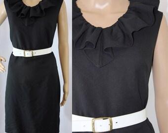 60s 70s sleeveless solid black midi dress with ruffled neckline modern size X Small 0 - 2 evening party dance mini retro mod ruffles v-neck