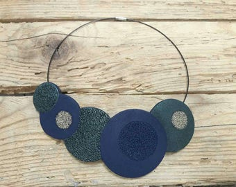 Modern polymer clay necklace, fimo necklace, bib necklace, statement necklace, navy blue  and green necklace, gift for her, coral texture