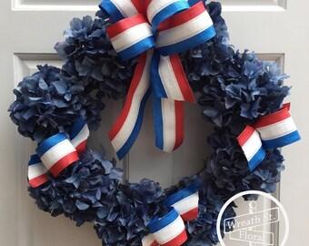 Patriotic Wreath, Hydrangea Wreath, Blue Wreath, Wreath Street Floral, Front Door Wreath, Grapevine Wreath,4th of July Wreath, Summer Wreath