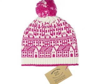 Cashmere knitted hat - fairisle hat with pom-pom - luxury cashmere beanie - Hebden Houses pattern - pink knitted bobble hat - cashmere wool