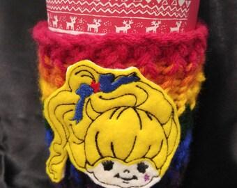 Rainbow Brite cup cozy/Oversized Feltie/Rainbow/cup cozy/coffee sleeve/tea