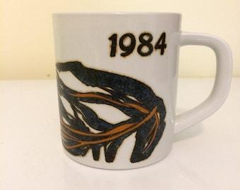 Royal Copenhagen annual mug 1984, artist designed for Denmark, Danish art, vintage Danish coffee mug,