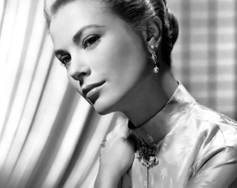Grace Kelly Film Actress Glossy Hollywood Black & White Photo Picture Print A4