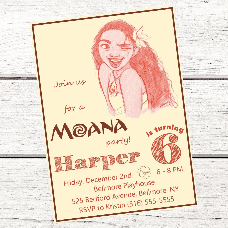 Moana invitation and free thank you card printable for Printable moana invitations