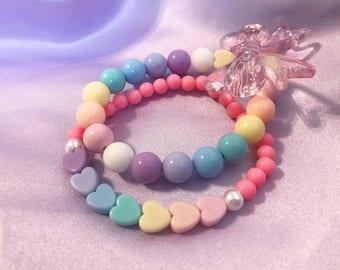 Pastel rainbow kawaii bracelet set