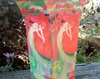 Red Art Nouveau Mermaid Vase