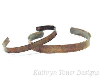 His and her bracelets- copper cuff- antique copper bracelet- anniversary gift- gift for him- 7th anniversary gift- valentines gift-  copper