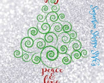 Christmas Tree svg /Christmas svg / Holiday svg / Peace, Love, Joy / Christmas quotes / Instant download / svg, pdf, png, and jpg files