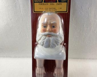 "Darice Porcelain Santa Old Man Doll Parts, Santa Head with Arms, Doll making Head, St. Nick, Christmas Doll, 4 3/4"" Santa Head"