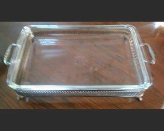 Silver footed rectangular casserole