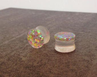 """ear plugs 14 mm spacers: 9/16 """"resin sequins, sparkles mermaids"""