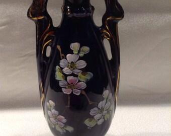 Vintage gold trimmed and handpainted bud vase