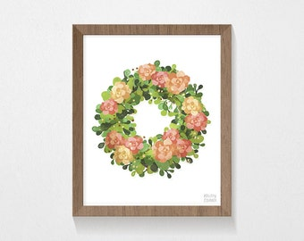 Floral Wreath | PRINTABLE, Wall Art | Instant Download | 8x10