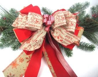 burlap christmas bow, burlap bow, burlap christmas, christmas bow, natural burlap bow, rustic christmas bow, rustic christmas, burlap red