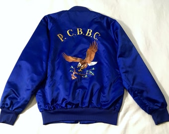 Sukajan Embroidered Souvenir Club Jacket Blue Large Made in USA