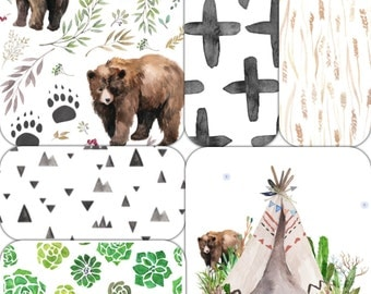 Tribal Bear Baby Nursery Bedding Set - Bear Toddler Bedding Set - Watercolor Baby Bedding - Aztec Crib Bedding - Teepee Bedding