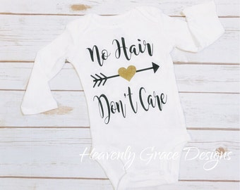 no hair baby bodysuit/ new baby/baby girl outfit/ funny baby shirt/baby gift