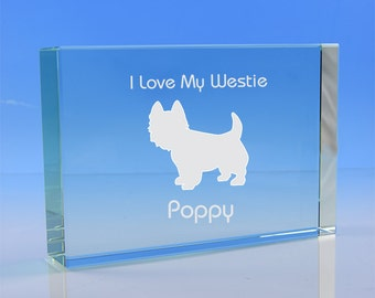 Westie Terrier Paperweight, Personalised Gift, Engraved Westie Glass Gift, Dog Ornament, Dog Lover Gift, Westie Gift, Westie Dog Gift